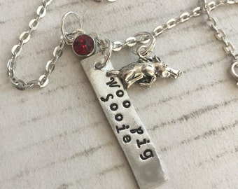 Arkansas Razorback Necklace Personalization  & a red crystal bead