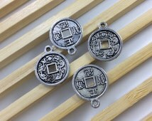 20 pcs  Vintage look  Chinese Old Coin Charms b, Chinese Old Coin Pendants  15 mm