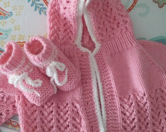 Hand knit pink baby sweater with matching booties 0-3 months buttons will be added