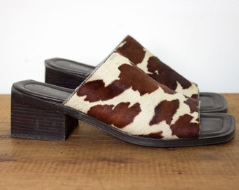 Vintage 90s Enzo Angiolini Pony Hair Cow Print Chunky Mules Size 7.5 M