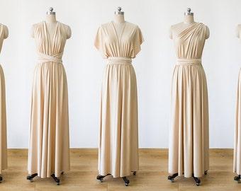 Champagne Maxi Infinity Dress, Convertible Bridesmaid Dress, cheap prom dress, Evening Dress,Multiway Dress, Wrap Dress, formal Dress
