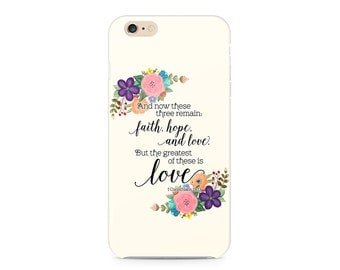 Faith Hope and Love Phone Case -  Bible Verse Phone Case - Floral Wreath - iPhone 7 - Samsung  Galaxy S8