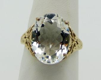 Natural White Quartz Filigree Sterling Silver Vintage Revival Ring, Size 7.75