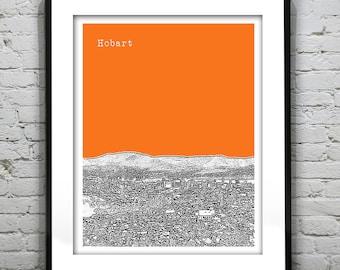 Hobart Tasmania Skyline Poster Art Print Version 1