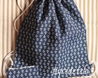 Pack de mochila de cuerdas + monedero a juego, estampado de anclas