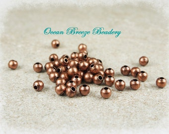 4mm Round Copper Bead . 100 for You . Antiqued Copper