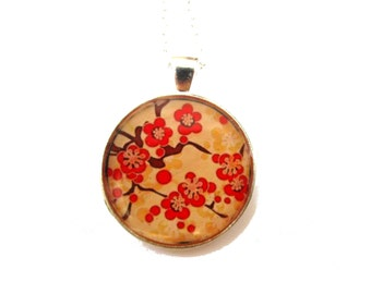 Cherry Blossom Necklace, Sakura Necklace, Sakura jewelry, Flower Necklace, Floral Necklace, Red Flowers, Picture Necklace, Japan
