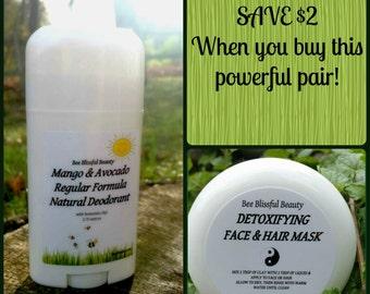 DEODORANT AND DETOX Pair, Save 2 Dollars on Pair, Armpit Detox Handmade Organic Natural Deodorant, Clay Underarm Detox, Lessens Irritation