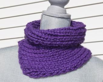 Purple Chunky Asymetrical Cowl Neckwarmer