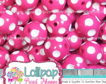20mm HOT PINK Polka DOT Beads White Dot Bubblegum Beads Chunky Beads Chunky Necklace Minnie Beads Plastic Round Gumball Bead Bubble Gum Bead