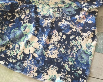 Blue and Mint floral swaddle blanket-photography prop- receiving blanket