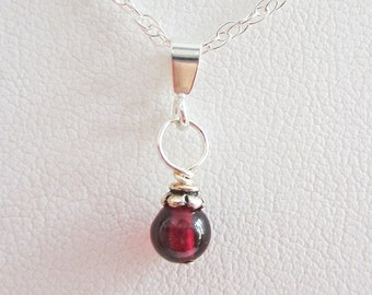 Garnet 5mm Czech Glass Bead Pendant Charm and Necklace