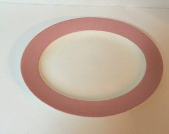 Vintage Homer Laughlin Serving Platter Rose Pink/Rose Trim ~ Vintage Serving Platter