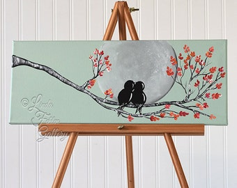 Original Canvas Painting Love Bird Painting Mint and Coral Wedding Gift for Couple Love Birds Art Love Painting Anniversary Gift for Couple