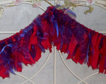 Fabric Tied Rag Garland / Bunting in Red & Purple.