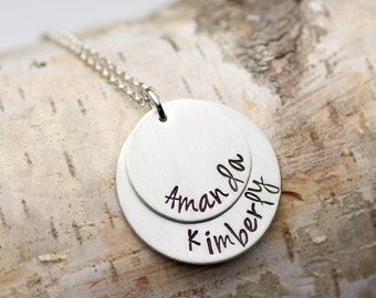 Kids Names Necklace, Mommy Necklace, Gift for Mom, Mothers Day Gift, Two Kids Names Gift for Her Custom Name Necklace Personalized Gift