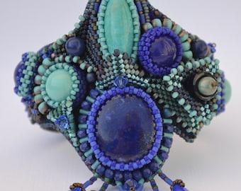 Bead Embroidery Bracelet, Bead Embroidery Cuff, Bead Embroidered Bracelet, Beaded Cuff, Beaded Bracelet, Handmade, OOAK, Bracelet