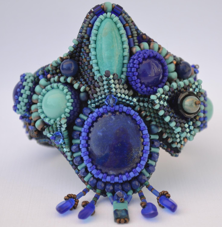 Bead embroidery bracelet cuff