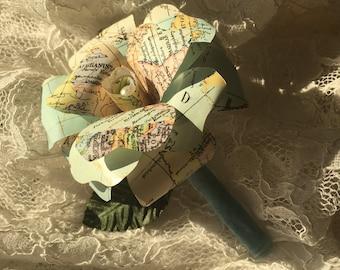 rose paper buttonhole groom map vintage