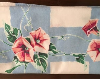 Vintage 1950s Blue with Pink Flowers