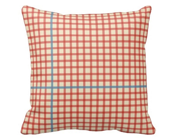 Modern Plaid Pillow : Mid-Century Modern Plaid Pillow 20x20 Double Sided