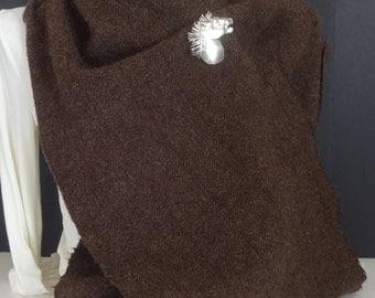 Extra Long 100% Wool Harris Herringbone Tweed Scarf-Brown, Beige,Burgundy,Green