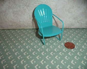 1:12 scale Dollhouse or Fairy Garden,porch or lawn chair Aqua Blue