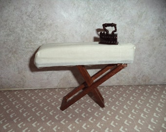 1:12 scale dollhouse miniature Ironing Board w/ old fashion iron