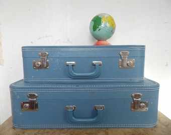 Suitcases/Suitcase/Blue/Luggage/1960's/Suitcase Set/Glamping/Camping