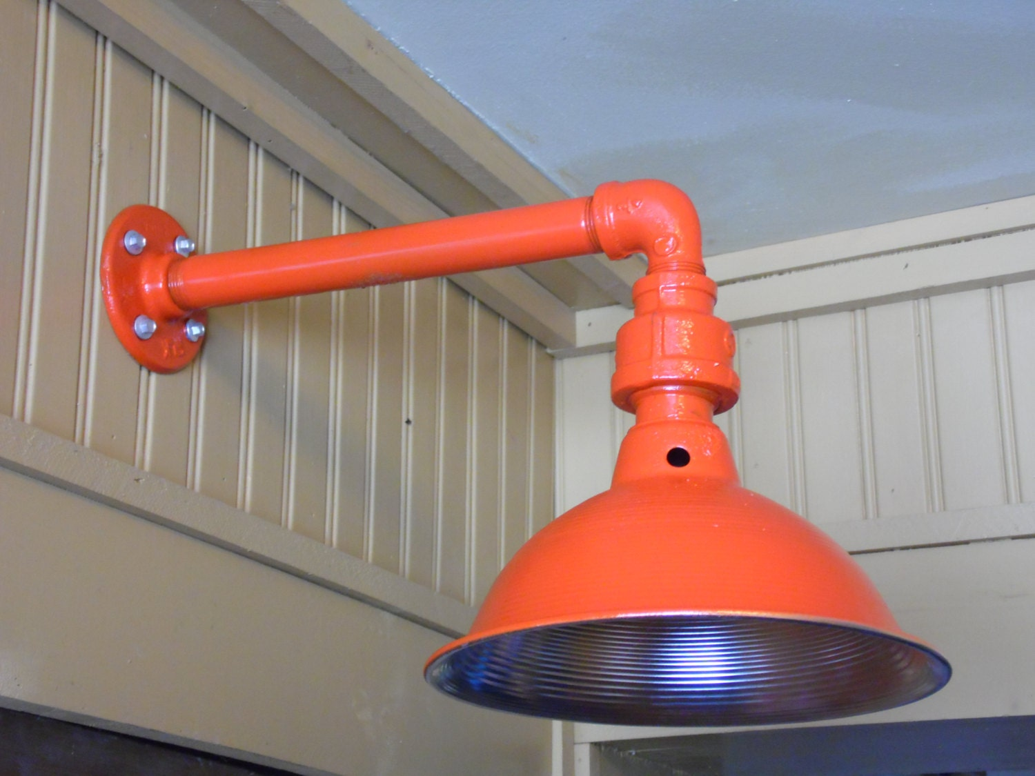 Custom colored light fixture sconce barn light industrial for Industrial outdoor lighting