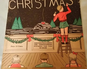 Vintage 1937 Kiddies Christmas Music Coloring Book