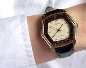 Soviet Watch Slava. Gold-plated. AU. Russian Men Mechanical Wristwatch. 21 jewels Date Calendar. USSR.