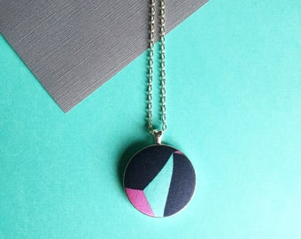Tangram Fabric Pendant.  Geometric fabric necklace on silver chain