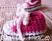 Made to Order Pink Crochet baby booties crochet baby shoes baby tennis shoes