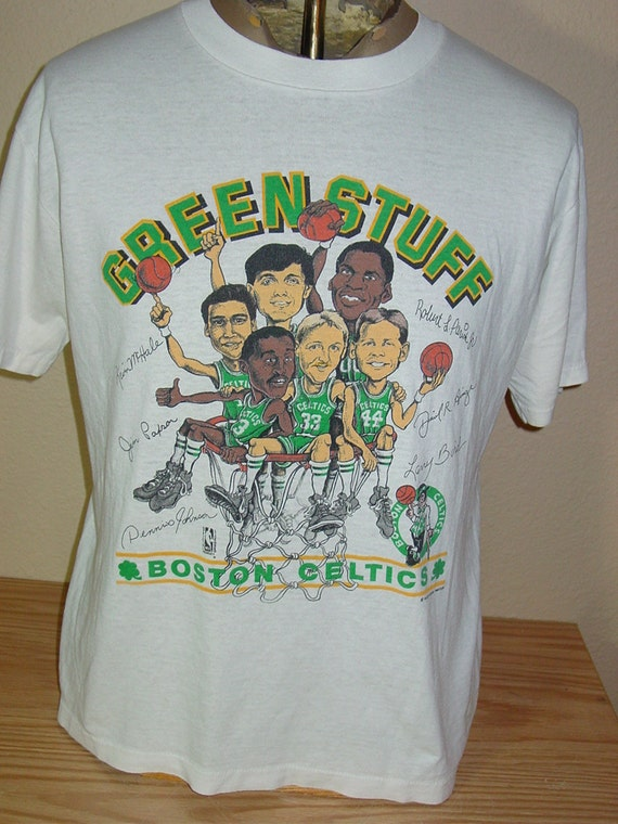 vintage 1980s boston celtics basketball t shirt larry bird