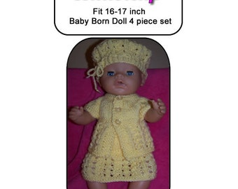 Baby Born Knitting Pattern BUTTERCUP  fits 16 to 17 inch dolls (pattern only)