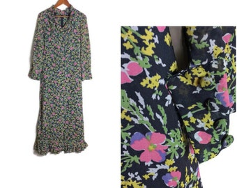 60s floral maxi dress // pretty boho long dress // black pink and yellow floral dress // 1960s hippie dress // size 8