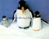 Vintage toy toys penguin penguins Knit knitted knitting Pattern PDF 576 from WonkyZebra