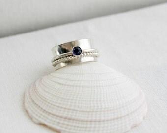 Sterling Silver Gemstone Spinner Ring