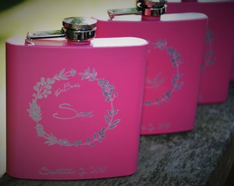 Set of 6 Pink engraved Flasks Wedding party favors Bridesmaid flask Maid of honor flask engraved Custom engraved 6oz flask custom flask