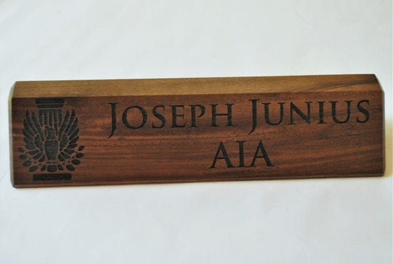Personalized wooden desk name plates inch by