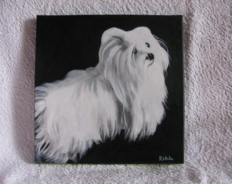 Beautiful painting of a Maltese Terrier