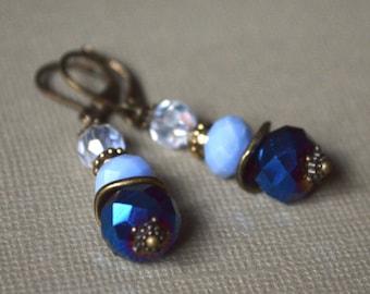 Bronze blue pearl earrings