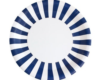 Navy Blue Striped Paper Plates (Set of 12)
