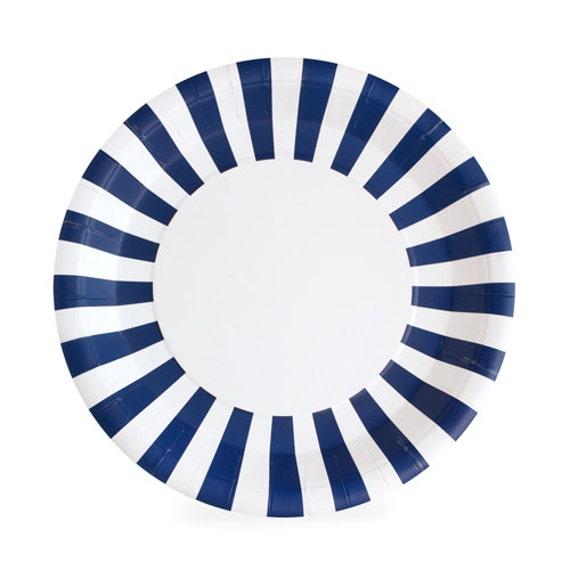 navy blue striped paper plates set of 12. Black Bedroom Furniture Sets. Home Design Ideas