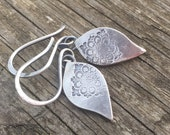 Baby moroccan petal earrings, recycled sterling silver petals with an organic boho feel.