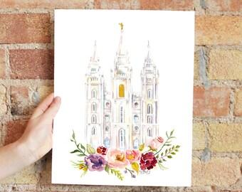 Salt Lake City LDS Temple Watercolor (SLC, Utah)