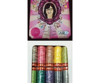 AURIFIL Set of 10 MAKO 50 Wt Tula Pink Varigated Collection Quilting Thread
