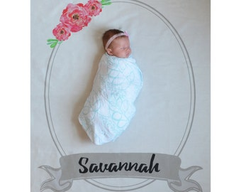 Personalized Welcome Backdrop Baby Announcement - first year monthly backdrop background birth announcement calendar