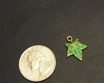 Green Ivy Leaf Charm (Gold)